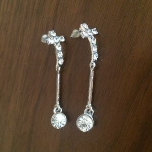 New rhinestone drop cross earrings